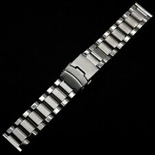 Silver 22mm Wrist Watch Band Stainless Steel Strap Fold over clasp with safety