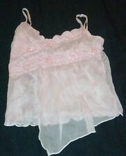 Mothers Day Pink Sequin Lace Semi Sheer Gauze Layer Spaghetti Stap Cami XS