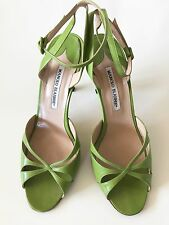 Manolo Blahnik Lime Green Leather Strappy Stiletto Sandals Sz 40 10 US EUC