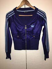 ADIDAS Missy Originals Trefoil Blue Gold 3 Stripe Zip Jacket UK 8 EUR 34 Small S