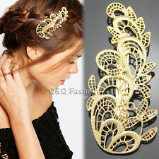 Gold Metal Chantilly Lace Leaf Filigree French Updo Hair Pin Clip Dress Barrette
