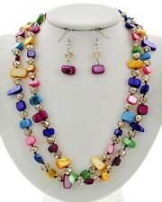 Two Layers Multi Color Shell Faceted Glass Bead Necklace Earring Set