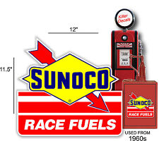 """12"""" SUNOCO RACING FUEL DECAL GAS AND OIL PUMP, SIGN, WALL ART STICKER a"""