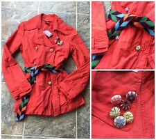 Oilily Summer Of Love Bootleg Button Front Trench Style Jacket Womens sz 36 6