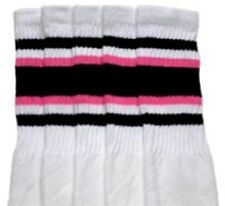 "22"" KNEE HIGH WHITE tube socks with BLACK/BUBBLEGUM PINK stripes style 4 (22-4)"