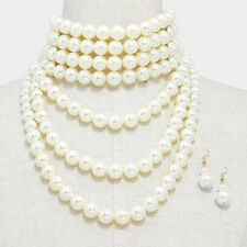 "14.50"" cream gold faux pearl choker collar bib necklace 1.75"" earrings"