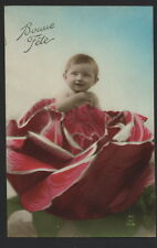 MB3311 BABY GIRL IN A BIG RED CABBAGE RPPC HAND. COL