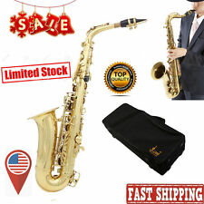NEW PROFESSIONAL GOLD Bb CURVED SOPRANO SAXOPHONE SAX PACKAGE +TUNER USA FH