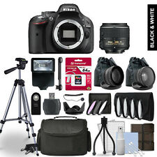 Nikon D5200 Digital SLR Camera 3 Lens Kit + 64GB Multi Accessory Bundle