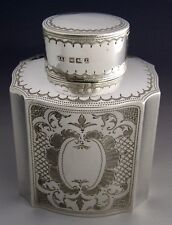 BEAUTIFUL VICTORIAN STERLING SILVER TEA CADDY CANISTER 1892 ANTIQUE