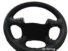 FOR DAF 95 XF TRUCK 97-05 BLACK LEATHER STEERING WHEEL COVER PURPLE STITCHING