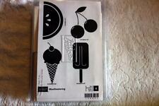 "STAMPIN' UP! ""Mouthwatering"" Wood Unmounted rubber stamp Set of 4 NEW"