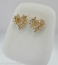 14K Yellow Gold +/- 1/2 CT TW Heart Shape Diamond Cluster Post Earrings