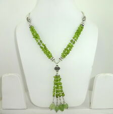 NATURAL FINE PERIDOT GEMSTONE BEADED  CHIPS NECKLACE  51 GRAMS