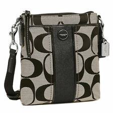NWT COACH SIGNATURE Lurex STRIPE SWING PACK CROSSBODY Black White Shoulder 48806