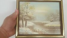 VINTAGE OIL PAINTING OF WILDERNESS Stream, Trees, Cabin by Artist BARRISTER