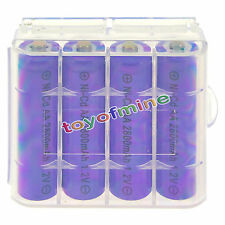 4 AA Purple Rechargeable Batteries NiCd 2800mAh 1.2v Solar Light + 1x Case