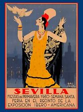 1930 Feria de Sevilla Fiestas  Spain Vintage Travel Advertisement Poster