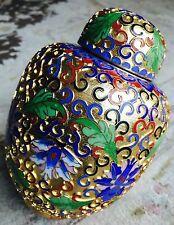 """Fantastic Antique 24ct Gold Gilded & Handcrafted Japanese Cloisonné 6""""/15cm Jar"""
