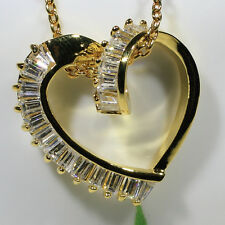 18K Yellow Gold Filled AAA Baguette CZ Lady Necklace Heart Pendant Jewelry P1902