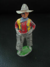 Old Vtg Lead standing Cowboy posing with Hat, chaps  Toy Figure