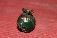Antique Chinese Asian Miniature Water Buffalo & Dragons Silver Metal Over Marble