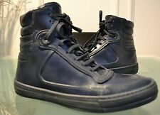 DIESEL BLACK GOLD BLUE LEATHER ECLIPSE HIGH TOP SNEAKERS NEW 8.5 41 TRAINERS