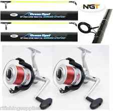 SEA FISHING SET - 2 X 12FT BEACHCASTER RODS + 2 X SILK 70 SEA REELS WITH LINE
