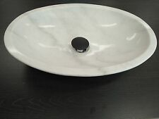Modern Solid Stone white MARBLE Round oval Bowl Counter Top Basin Vanity SINK