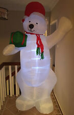 CHRISTMAS Lovely White Bear LIGHT TREE PRESENTS  INFLATABLE AIRBLOWN YARD DECOR
