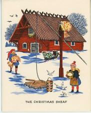 VINTAGE SWEDISH HOUSE CHRISTMAS WHEAT SHEAF GINGER COOKIES RECIPE CARD ART PRINT