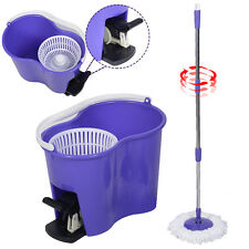 Microfiber Spinning Mop Easy Floor Mop W/Bucket 2 Heads 360 Rotating Head P