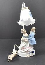 Vintage Porcelain Colonial Man Woman Table Lamp Light Electric Glass Shade 16""