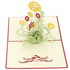 3D Sunflower Pop Up Greeting Card Birthday Thank You Mother Day Christmas Gift