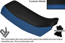 BLACK & ROYAL BLUE CUSTOM FITS SUZUKI TSX 125 85-88 LEATHER DUAL SEAT COVER ONLY