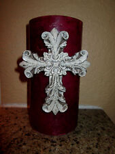 Cross Candle Pin Antique White Cosses for Candles Old World Tuscan Fleur de Lis
