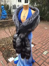 NEW SILVER FOX FUR STOLE WRAP CAPE 95 INCHES LONG New item Made in USA