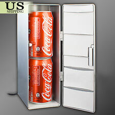 Mini USB LED PC Refrigerator Fridge Beverage Drink Cans Cooler Warmer Silver