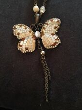 VINTAGE STYLE CREAM & BROWN ENAMEL BUTTERFLY NECKLACE (886)