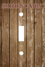 PERSONALIZED RUSTIC OLD WOOD CABIN LIGHT SWITCH PLATE COVER