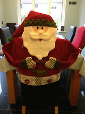 2 x Santa / Father Christmas Kitchen Dining Table Chair Back Covers Dinner Decor