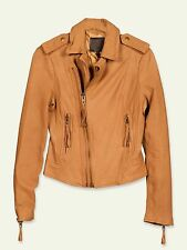"$898 JOIE sz L (~ 36"" Bust) Ailey Leather Moto Bike Jacket Honey Women NWT"