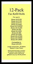 12-pack UX-5CR Fax Refills for Sharp UX-P200 UX-CL220 UX-CC500 UX-CD600 UX-LD600