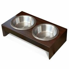 Dog Elevated Feeder Small Wood Food Dish Double Raised Bowls Cat Pet Supplies