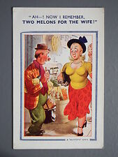 R&L Postcard: Comic, Bamforth 644, Greengrocer Shop, Fruit & Veg, Large Breasts