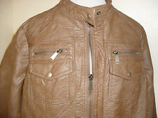 Plus size 1X Apt. 9 Faux leather womens jacket coat brown motorcycle sexy NWT