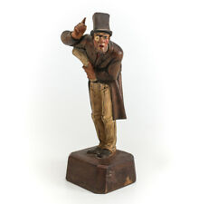 Antique German Hand Carved and Painted Wood Figure of Gentleman with monocle