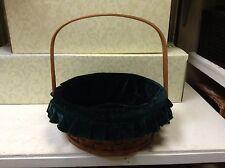 ROUND Woven Wicker Storage Organizer Gift Basket & Green Velvet Liner LARGE