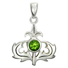 Sterling Silver Scottish Thistle Pendant with Peridot Scotland Heritage Jewelry
