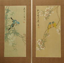 "Pair wisteria hibiscus birds Chinese painting on silk 24""x12""/18¾""x8"" FL047"